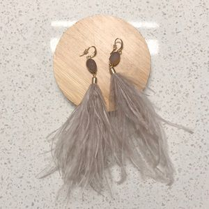 Anthropologie Feather Statement Earrings in Mauve